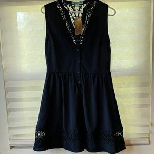 NWT Medium Navy dress with embroidery detail
